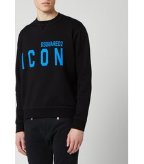 dsquared2 men's cool fit icon sweatshirt - black/blue - xxl