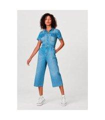 macacão jeans hering pantacourt em algodão e elastano feminino