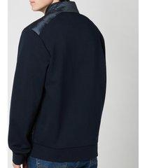 polo ralph lauren men's double knitted full zip jacket - navy herringbone - xxl