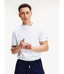 camiseta de cuello alto blanco tommy jeans