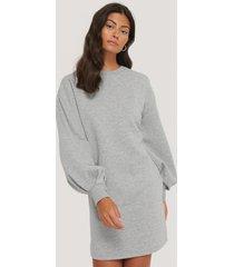 na-kd puff sleeve sweatshirt dress - grey