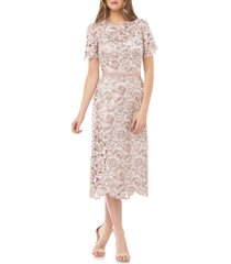 js collections embroidered lace sheath dress, size 14 in blush ivory at nordstrom