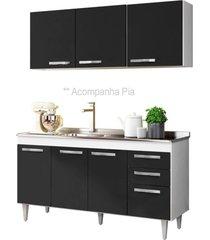 armário aéreo parma e balcão gabinete pia inox lisboa 150cm branco/preto - lumil móveis