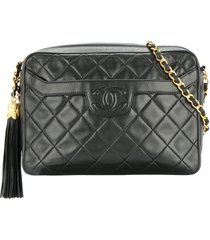 chanel pre-owned quilted fringe cc single chain shoulder bag - black