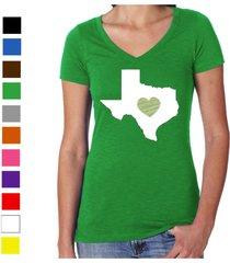 texas shirt ladies v-neck womens love home heart t-shirt state apparel