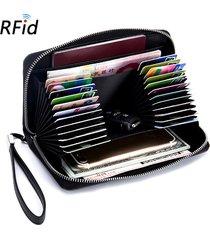unisex portafoglio lungo in pelle vera multifunzionale con rfid con 24 card slot