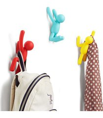 cabideiro de parede buddy plástico 3 peças multicolorido umbra