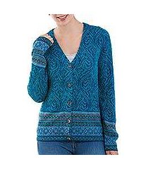 100% alpaca cardigan, 'dreamy blues' (peru)