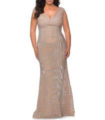plus size women's la femme sequin v-neck trumpet gown, size 24w - beige
