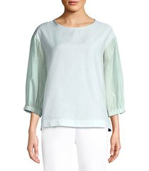 long-sleeve voile silk-blend top
