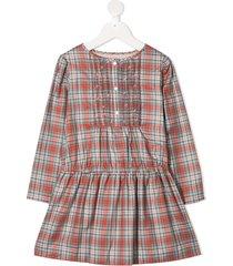 bonpoint cherry bib check dress - red