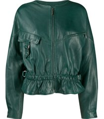 alberta ferretti oversized zip-up leather jacket - green