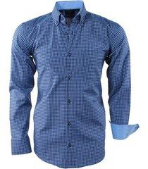 enrico polo heren overhemd geblokt borstzak navy licht blauw