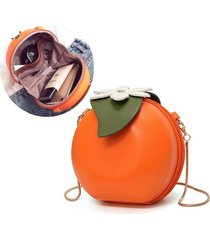 donna cute orange chain borsa pu leather phone borsa mini crossbody borsa