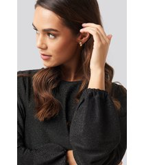 na-kd party balloon sleeve glittery blouse - black