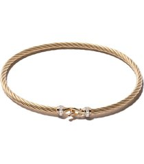david yurman 18kt yellow gold cable buckle pavé diamond bracelet -