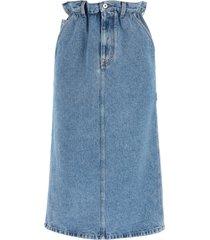 miu miu iconic denim paper bag midi skirt