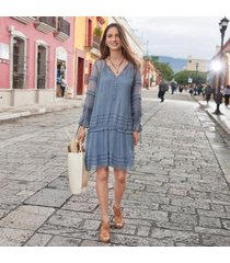sundance catalog women's avignon dress in fadeddenim small