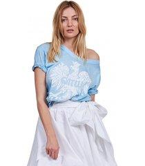 t-shirt damski z orłem jasnoniebieski