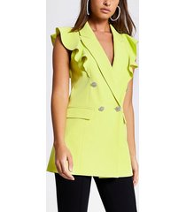 river island womens lime frill sleeveless double breasted blazer