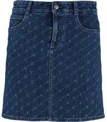 stella mccartney printed denim mini skirt