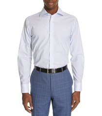 canali regular fit dot dress shirt, size 18 in blue at nordstrom