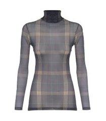 blusa feminina segunda pele xadrez beth - preto