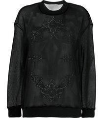 stella mccartney sheer embroidered sweatshirt - black