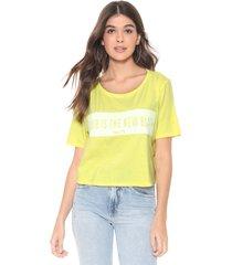camiseta cropped my favorite thing(s) neon lettering amarela - kanui