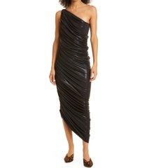 women's norma kamali diana one shoulder ruched dress, size large - black