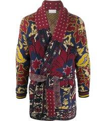 pierre-louis mascia patchwork patterned tie waist cardigan - red