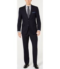 perry ellis men's slim-fit comfort stretch navy solid suit