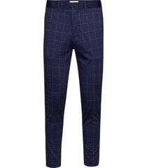 club pants - knitted check kostuumbroek formele broek blauw lindbergh
