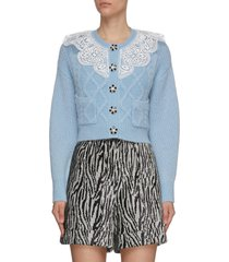 lace collar crop knitted cardigan