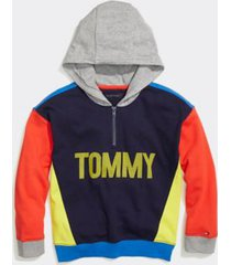 tommy hilfiger boy's adaptive colorblock popover hoodie peacoat - l