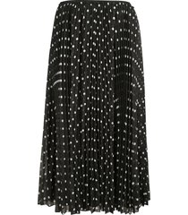 red valentino dotted print pleated skirt