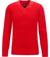 boss men's t-fulmino v-neck ribbed cotton sweater