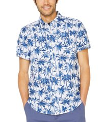 nautica men's blue sail linen palm-print shirt, created for macy's