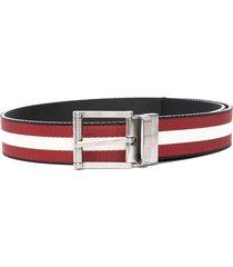 bally stripe pront belt - red