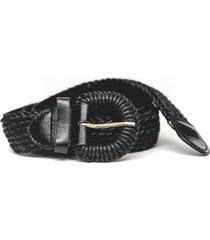 cinturon de rafia negro guinda