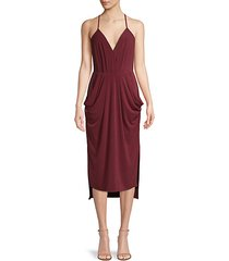 draped v-neck cocktail dress