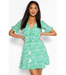 bloemenprint jurk met ruches, groen