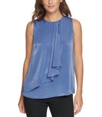 dkny tiered sleeveless blouse
