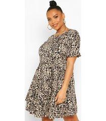 plus gesmokte luipaardprint jurk met ruches, bruin