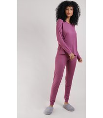 pijama feminino blusa manga longa e decote redondo rosa escuro