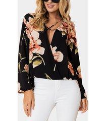 frente cruzado negro diseño estampado floral v profundo cuello blusa de manga larga