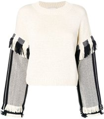 3.1 phillip lim long sleeve fringed sweater - neutrals