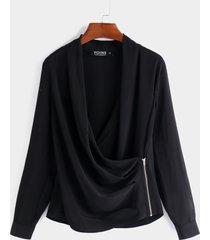 blusas de manga larga con cuello cruzado liso con diseño de cremallera negra de moda