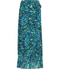 printed mesh lång kjol blå ganni