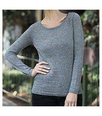 100% alpaca sweater, 'silver charm' (peru)